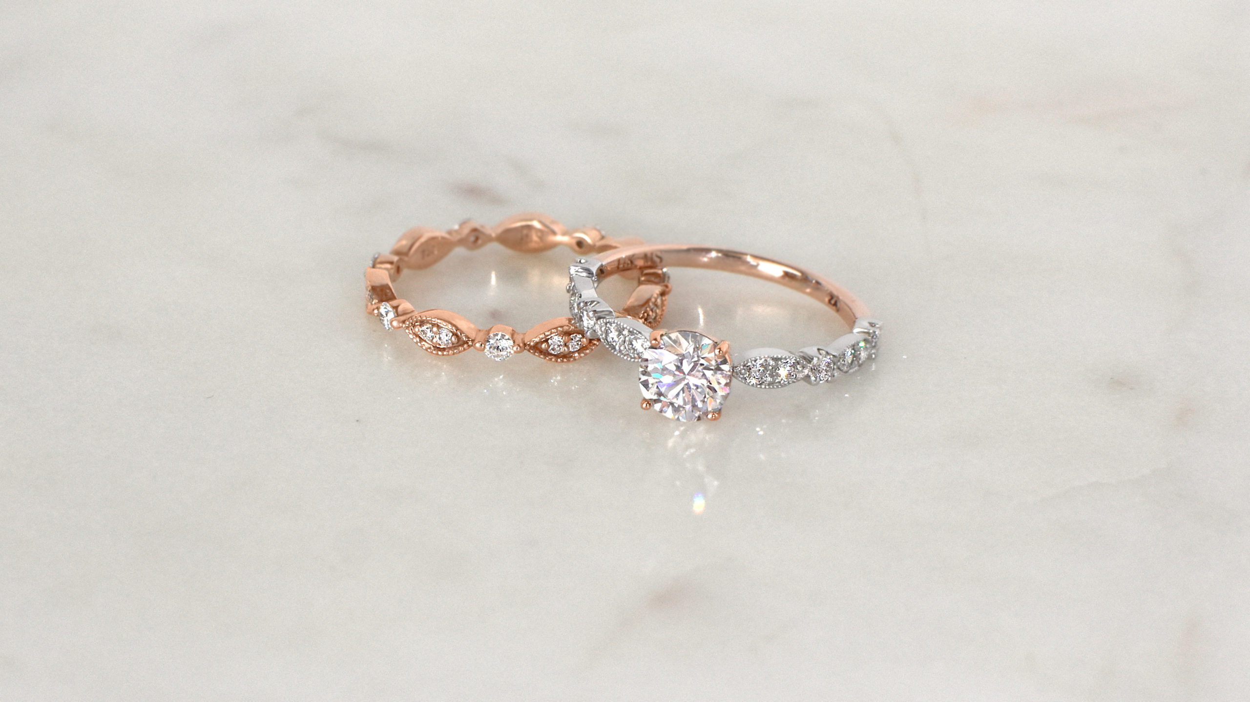 Two-Tone Gold Vintage-Inspired Diamond Ring in 14ct Rose and White Gold | Diamond Rings