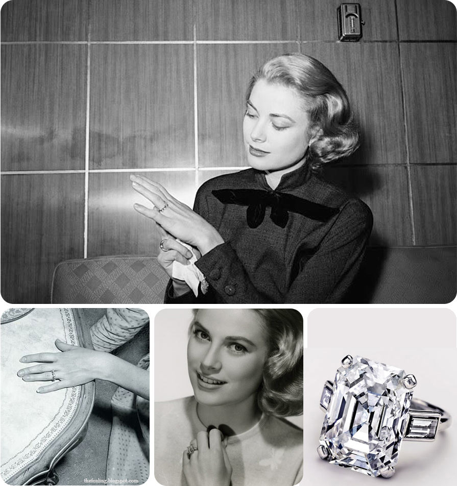 History of Engagement Rings | A collection of images showing Grace Kelly's engagement rings