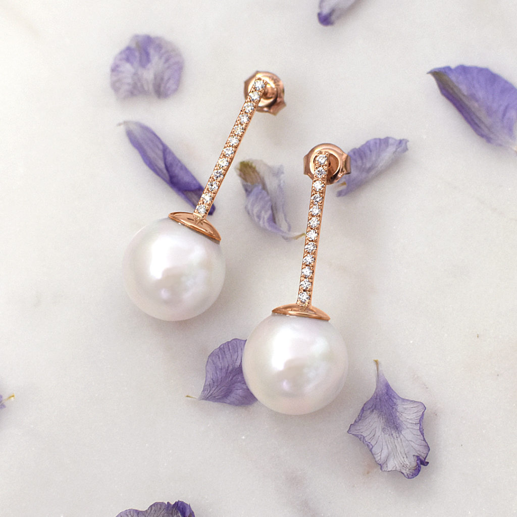 The custom made jewellery process | Bespoke pearl & diamond bridal earrings designed by our Jewellery Designer & handmade by our Goldsmiths in our studio.