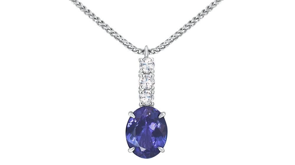 Oval Tanzanite & Diamond Drop Pendant