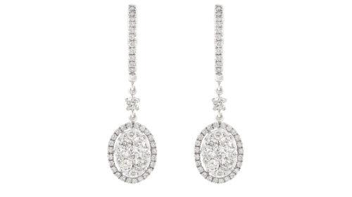 opulent oval diamond drops set in 18ct white gold | Diamond Earrings