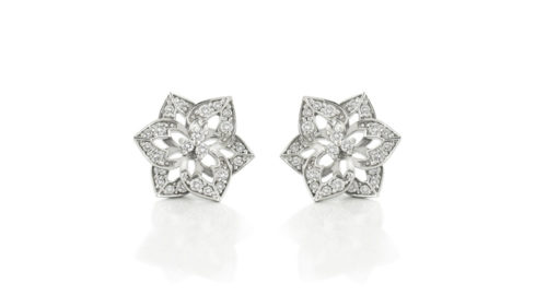 Diamond Flower Studs Set in 18 Carat White Gold