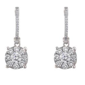 Diamond Halo Drop Earrings | Diamond Earrings