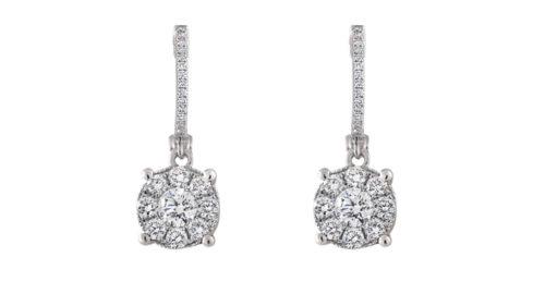 Diamond Halo Drop Earrings   Diamond Earrings