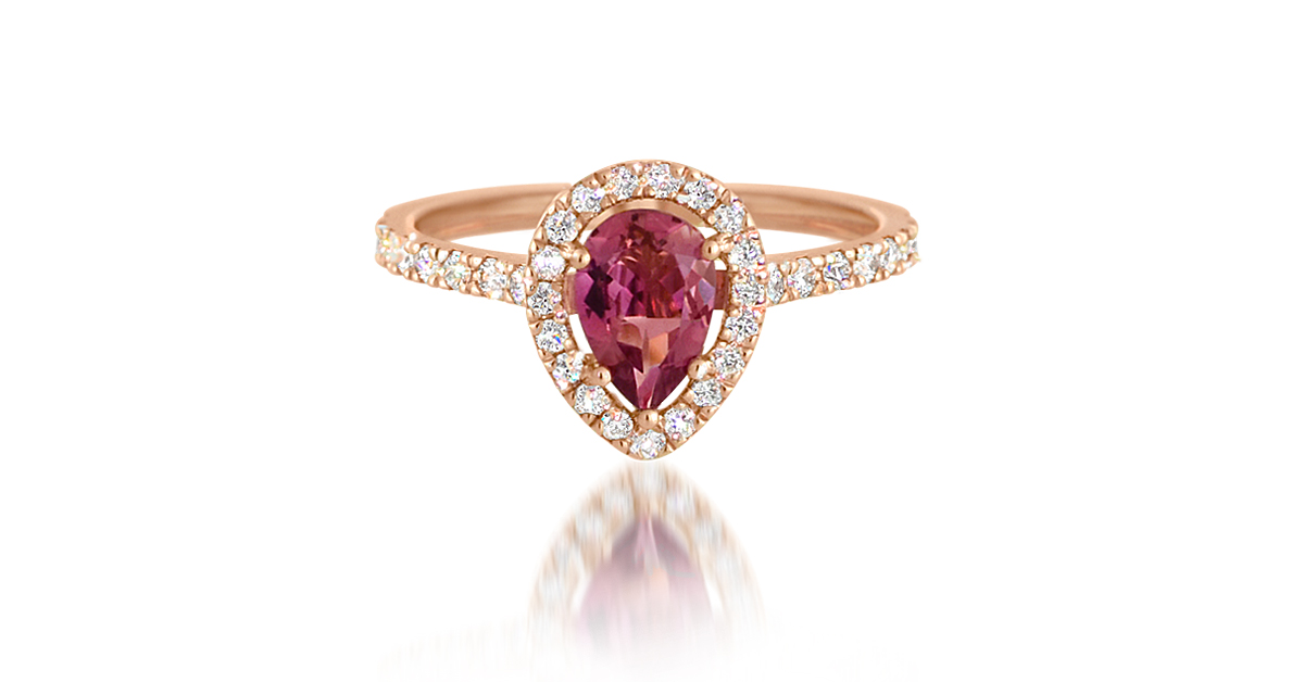 Rose Gold Tourmaline and Diamond Halo Ring | A magnificent pear-cut, pink tourmaline set in 18ct Rose Gold