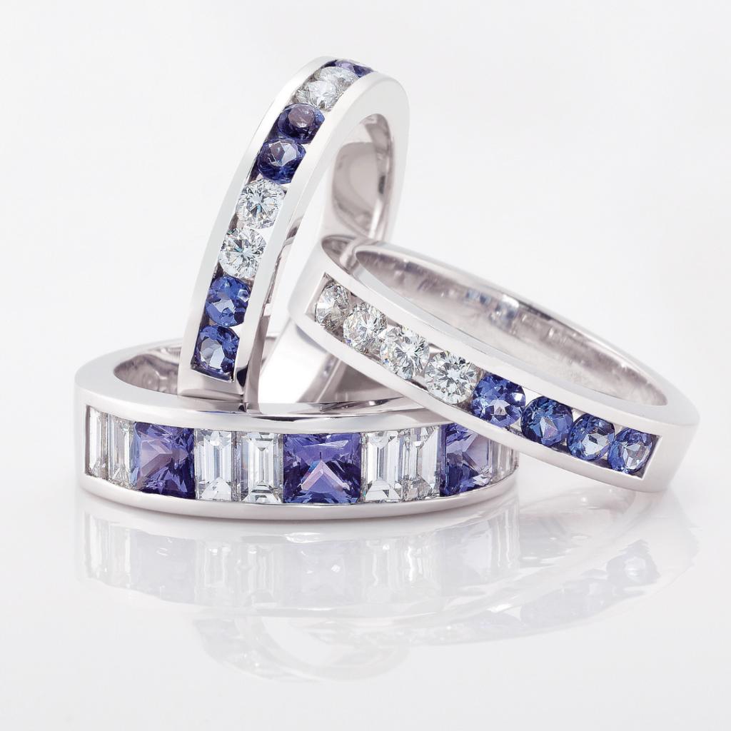 Luxurious Rare Tanzanite & Diamond Eternity Rings | Mark Solomon Jewellers